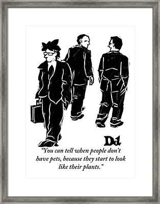 Two Businessmen Talk About Another Whose Framed Print by Drew Dernavich