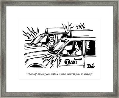 Two Cab Drivers Speak To Each Other Framed Print by Drew Dernavich