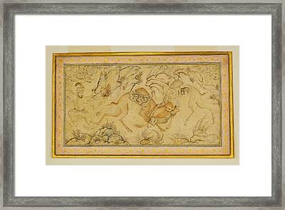 Two Camels Fighting Framed Print by Celestial Images
