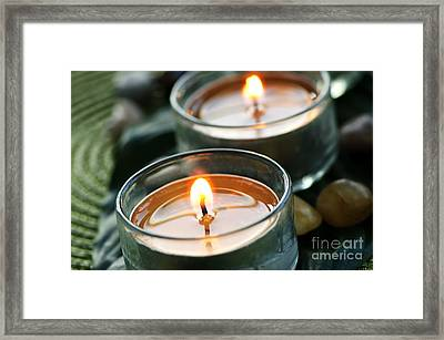 Two Candles Framed Print by Elena Elisseeva