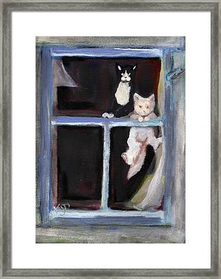 Two Cats Find An Old Window Sill Framed Print by Kemberly Duckett