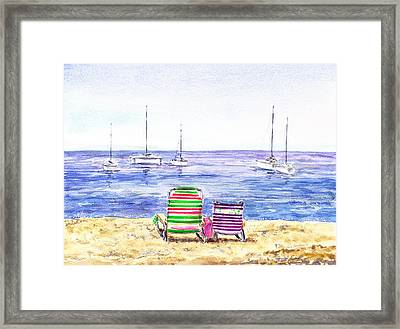 Two Chairs On The Beach Framed Print by Irina Sztukowski