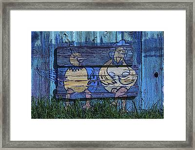 Two Chickens Mural Framed Print by Garry Gay