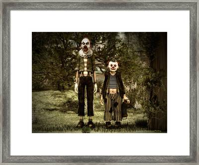 Two Clowns In The Forest. Framed Print by Ramon Martinez