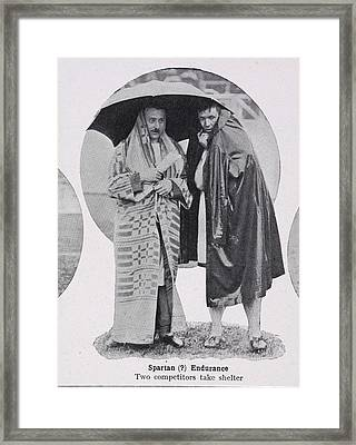 Two Competitors Take Shelter Framed Print by British Library