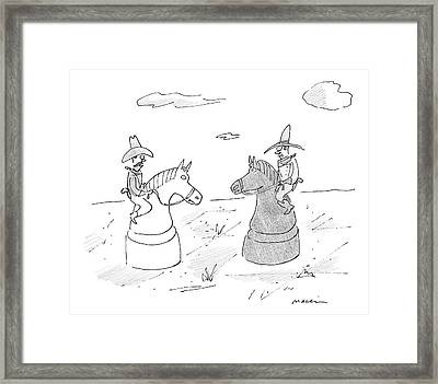 Two Cowboys Are Riding On Chess Pieces Framed Print by Michael Maslin