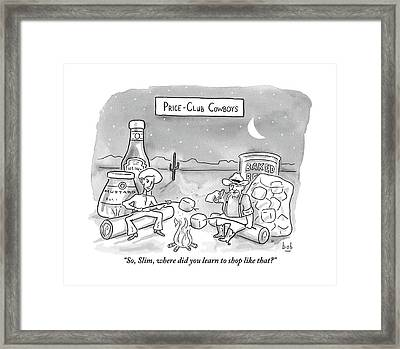 Two Cowboys Sit By A Campfire Framed Print by Bob Eckstein