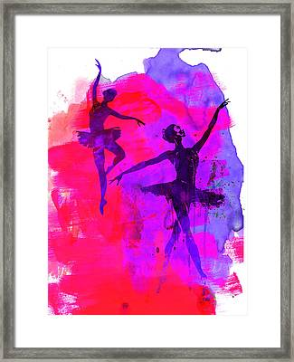 Two Dancing Ballerinas 3 Framed Print by Naxart Studio