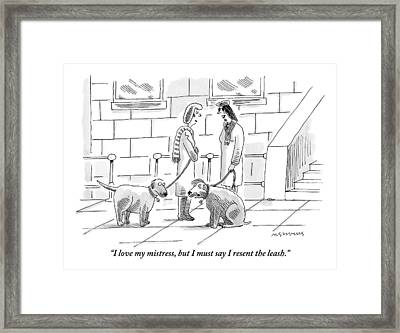 Two Dogs On Leashes Are Talking Next Framed Print by Mick Stevens