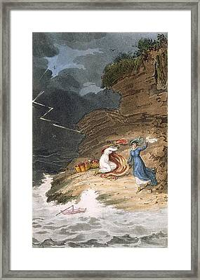 Two Early Regency Belles Caught Framed Print by James Green
