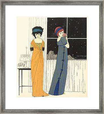 Two Empire Line Evening Dresses Framed Print by Paul Iribe