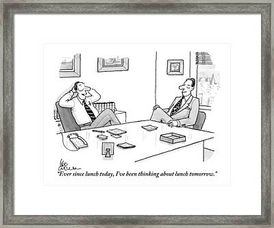 Two Executives In Suits Sit At A Business Table Framed Print by Leo Cullum