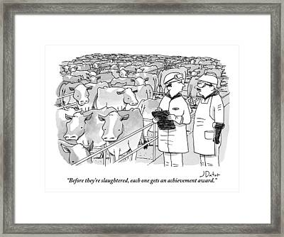 Two Farm Works Are Speaking To Each Other Next Framed Print by Joe Dator