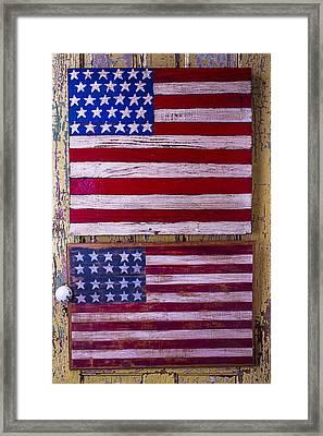 Two Folk Art Flags Framed Print by Garry Gay