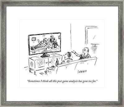 Two Football Fans Watch Tv Framed Print by David Sipress