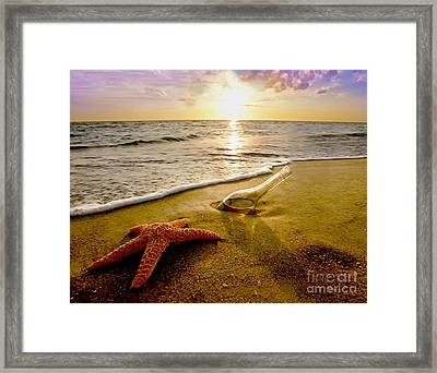 Two Friends On The Beach Framed Print by Jon Neidert