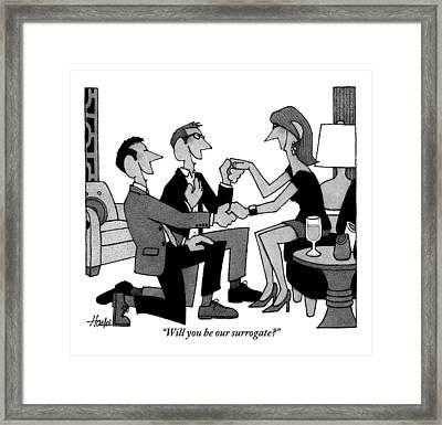 Two Gay Men Are Kneeling On The Floor Framed Print by William Haefeli
