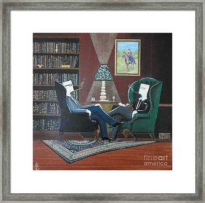 Two Gentlemen Sitting In Wingback Chairs At Private Club Framed Print by John Lyes