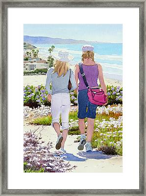 Two Girls At Dog Beach Del Mar Framed Print by Mary Helmreich
