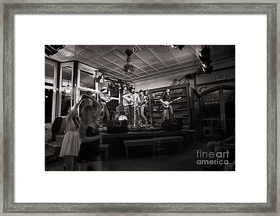 Two Girls Dancing At The Purple Fiddle Framed Print by Dan Friend