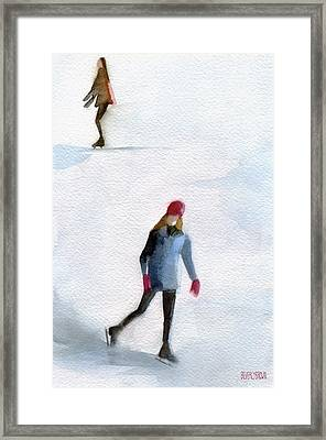 Two Girls Ice Skating Watercolor Painting Framed Print by Beverly Brown Prints