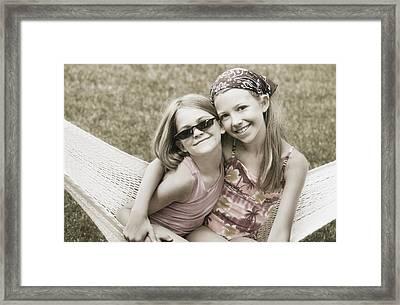 Two Girls In A Hammock Framed Print by Don Hammond