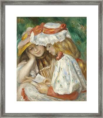 Two Girls Reading Framed Print by Renoir