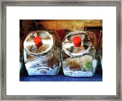Two Glass Cookie Jars Framed Print by Susan Savad