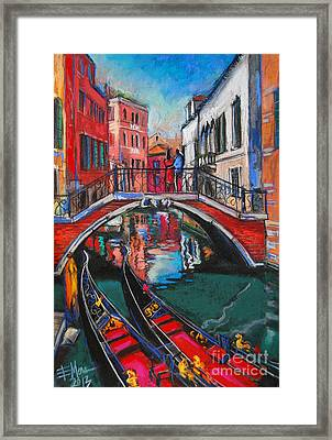 Two Gondolas In Venice Framed Print by Mona Edulesco