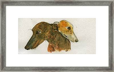 Two Greyhounds Framed Print by Juan  Bosco