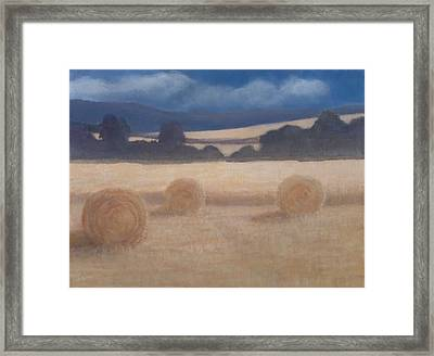 Two Hay Bales, 2012 Acrylic On Canvas Framed Print by Lincoln Seligman