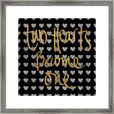 Two Hearts Become One Pattern Framed Print by South Social Studio