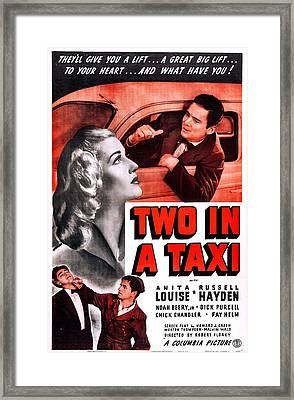 Two In A Taxi, Us Poster, Top From Left Framed Print by Everett
