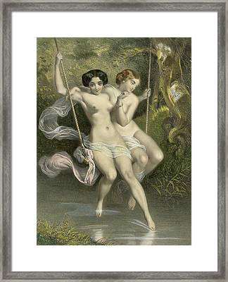 Two Ladies On A Swing Framed Print by Charles Bargue