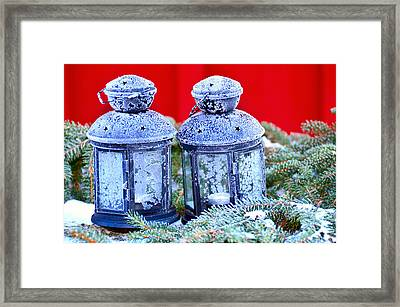 Two Lanterns Frozty Framed Print by Toppart Sweden