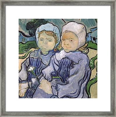 Two Little Girls Framed Print by Vincent Van Gogh