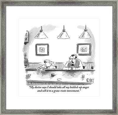 Two Men At A Bar With Glasses In Front Of Them Framed Print by Christopher Weyant