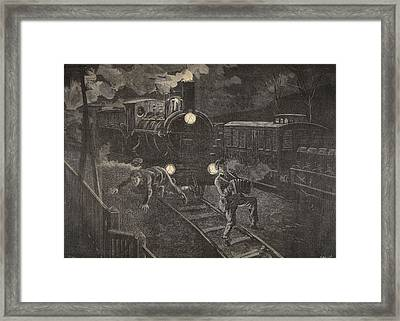 Two Men Hit By A Train Illustration Framed Print by French School