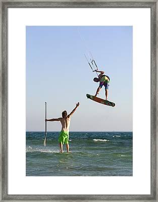Two Men Off Valdevaqueros Beach Framed Print by Ben Welsh