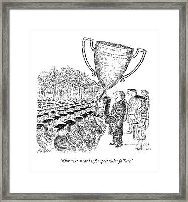 Two Men On Stage Giving Awards And Trophies. One Framed Print by Edward Koren