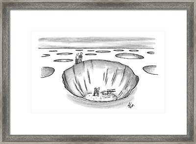 Two Men Stand At The Edge Of A Giant Hole Framed Print by Frank Cotham