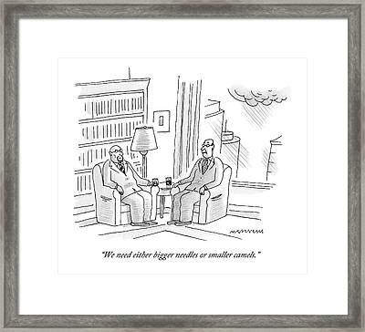 Two Middle Age Men In Suits Talk In An Office Framed Print by Mick Stevens