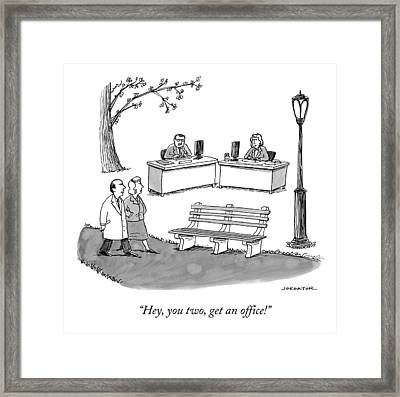 Two Passersby In The Park Shout At A Man Framed Print by Joe Dator