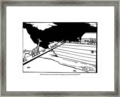 Two People Watch From An Ark As Animals Board Framed Print by Bruce Eric Kaplan