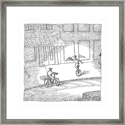 Two Pizza Delivery-men Cross Each Other Framed Print by John O'Brien