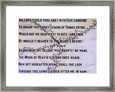 Two Poems On Marble Framed Print by Moira Rowe