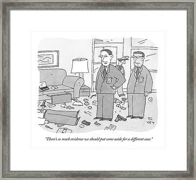 Two Police Officers Overlook A Messy Murder Scene Framed Print by Peter C. Vey