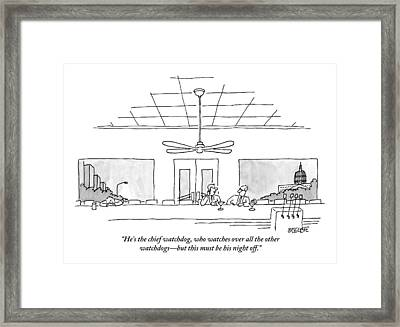 Two Politicians In Washington Dc Talk At A Long Framed Print by Jack Ziegler