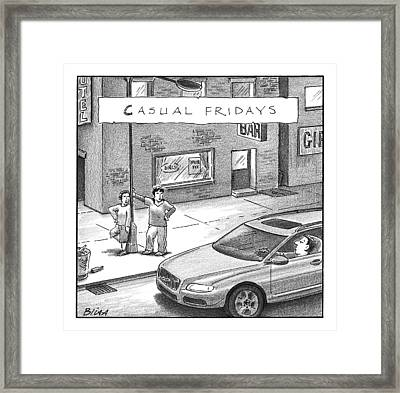 Two Prostitutes In Comfortable Sweatpants Framed Print by Harry Bliss