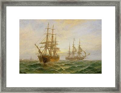 Two Ships Passing At Sunset Framed Print by Claude T Stanfield Moore